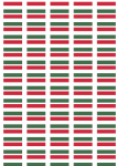 Hungary Flag Stickers - 65 per sheet